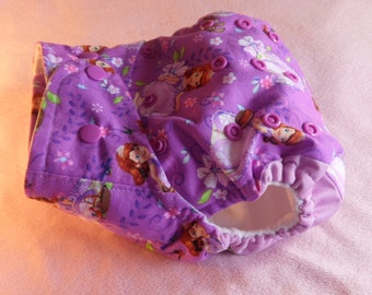 SassyCloth one size pocket diaper with Sofia the first cotton print. Made to order.