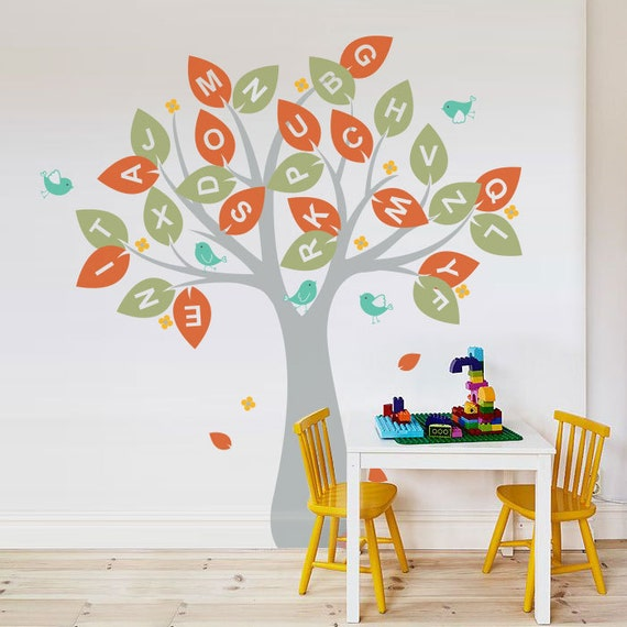 Wall decal, Alphabet tree and Birds - Nursery Kids Removable Wall Vinyl Decal