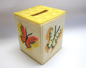 Butterfly Tissue Box Cover Orange Yellow Plastic Canvas Embroidered Kleenex Holder Butterflies