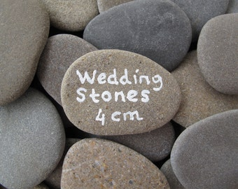 60 Wedding Stones Guest Book Stones Wish Stones Flat Rocks Flat Beach Stones Wishing Rocks Craft Stones Message Rocks - 1.5 inch