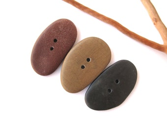 Stone Buttons Mediterranean River Rock Pebble Organic Knitting Sewing Craft Supplies Findings Large SMOOTH BUTTONS 42-43 mm