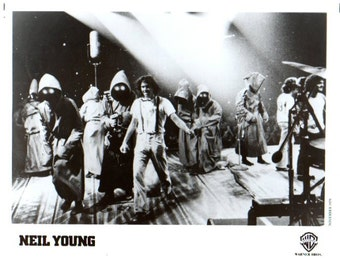 """Neil Young Photo 1979 Promo Photograph b&w 8""""x 10"""" On Stage Original Warner Brothers Records Publicity Promotion Rock n Roll Pop"""