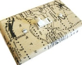 AIRPLANE WORLD MAP  Light Switch Cover Plate Switchplate Aviation Decor Tan