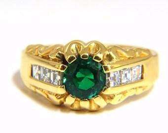 1.37ct natural round vivid green mens Colombian emerald ring 18kt