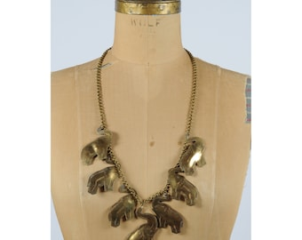 1970s necklace/ 70s brass elephant necklace/ statement piece