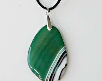 Agate Pendant Necklace - Green Polished Semi Sheer Stone White / Brown Waves - Statement Necklace - Unique Jewelry Gift For Her Birthday
