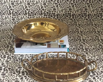 Set of 2 Brass Containers--Brass Tray AND Brass Dish--Vintage Brass
