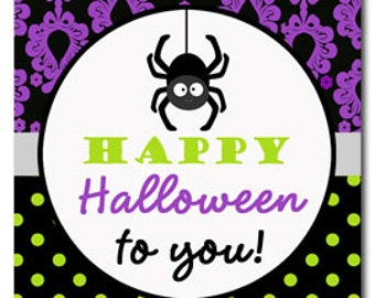 Printable Halloween Tags - Instant Download - Glam Halloween Party Collection