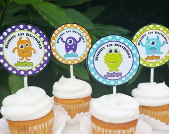 Monster Cupcake Toppers - Printable or Assembled/Shipped with FREE Shipping - Little Monster