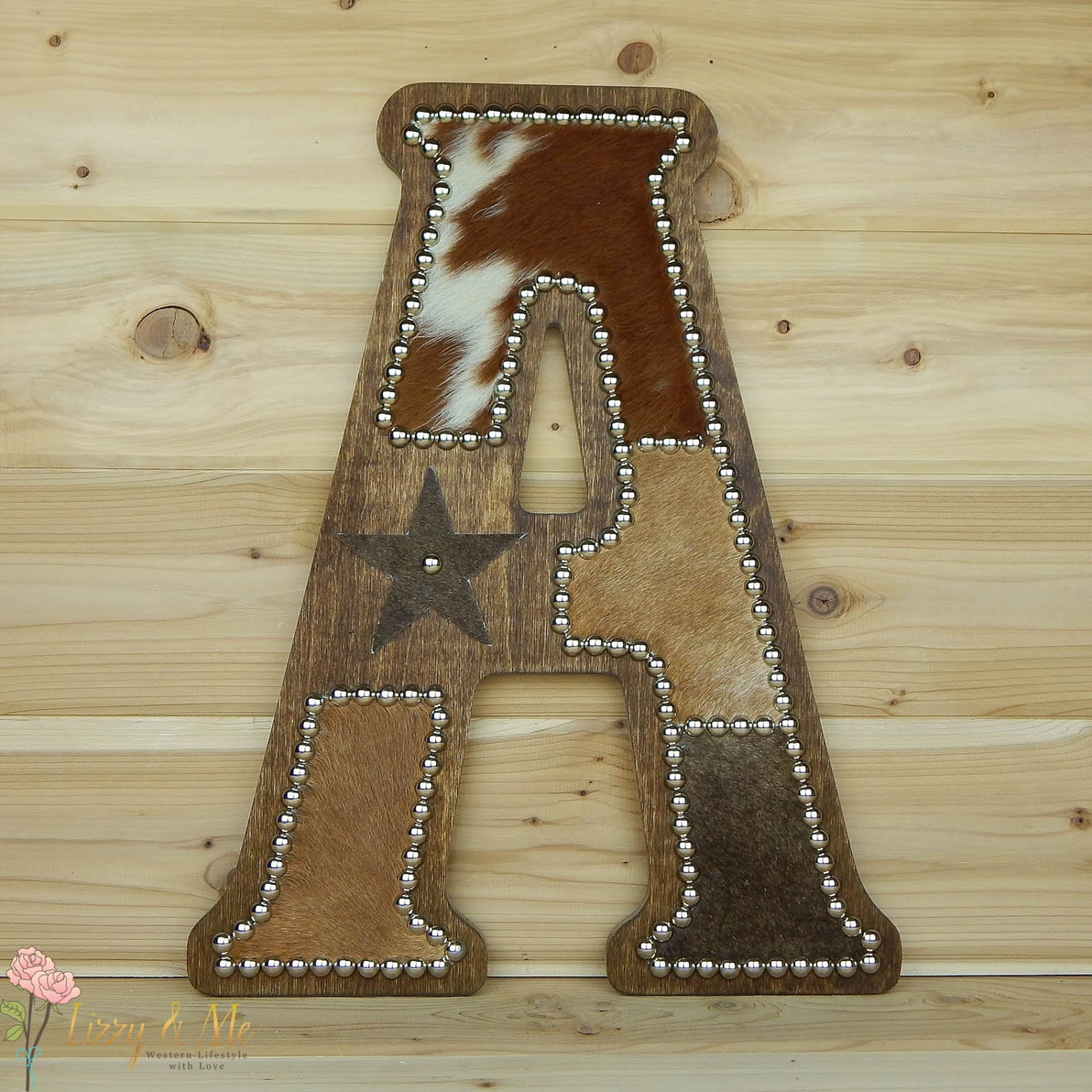 Cowhide Wall Letter A Western Home Decor Wall By LizzyandMe