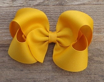 Boutique Hair Bow~Mustard Yellow Hair Bow~Fall/Autumn Hair Bow~Basic Boutique Bow~Simple Boutique Bow~Large Boutique Bow~Boutique Bows