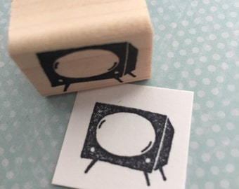 Small Retro TV Mounted Rubber Stamp