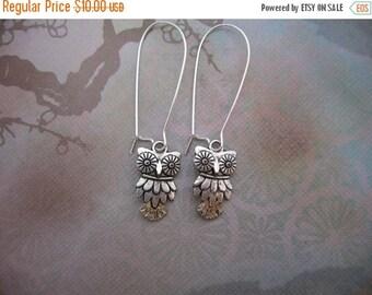Clearance Owl Earrings - Antiqued Silver Owl Charm Earrings - Kidney Earwires or Hook Earwires - Clearance Sale