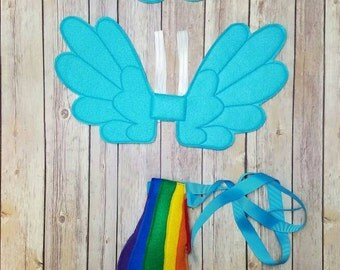Rainbow Pony Pretend Play Mask,Wings and tail Set  Party Favor Dress Up