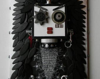 Recycled Assemblage - R.O.C.K.E.R. Bot - Found Object Art - Mixed Media Assemblage by Jen Hardwick
