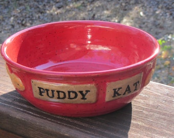Ceramic Cat Food or Water Drinking Bowl, Pet Dish, Handmade Wheel Thrown Pottery, Puddy Cat Fish Design, Really Red Glaze