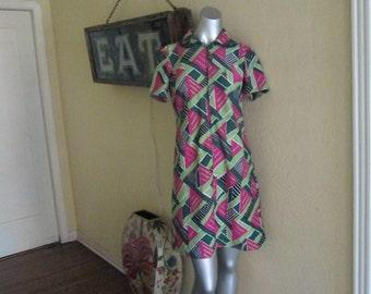 1960s Mod Dress / Hot Pink Green Black Retro Dress / Vintage Abstract Dress