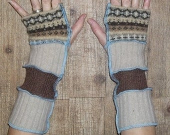 Upcycled sweater arm warmers brown tan multi fingerless gloves