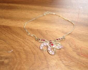 vintage necklace choker goldtone pink red rhinestones