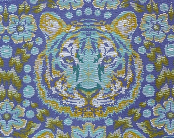 Tula Pink Fabric,  Crouching Tiger,  Eden Collection,  Cotton Fabric, Sapphire and Aqua, Free Spirit,  By the Yard
