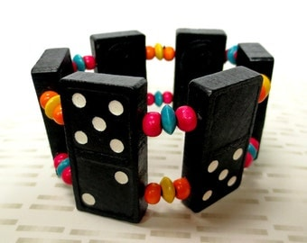 Black and White Wooden Bracelet Made from Large Vintage Dominoes