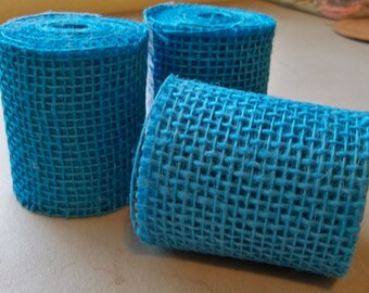 "Burlap Ribbon-Blue-3"" x 3 yds."