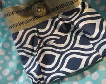 handbag, purse, market bag , printed design with black striped Natural Jute Webbing and braided tan belt handle with burlap flower