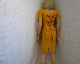 80s M 8 Nipon Boutique Linen Look DRESS S/S Mustard Yellow