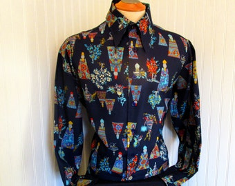 70s Lg Landmark Men's Big Collar Polyester Shirt Navy Blue Floral Print
