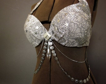 Belly Dance Bra - 1920s Metal Lace and French Sequins - Silver Bedlah - Burlesque Costume - 36B Bra