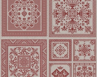 PDF Garden Squares 4 Pack Four Original cross stitch patterns by Modern Folk at thecottageneedle.com monochromatic