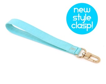 Wrist Strap - Turquoise Wristlet Strap - Key Lanyard - Fabric Key Chain Strap - Purse Wallet Accessory - Ready to Ship