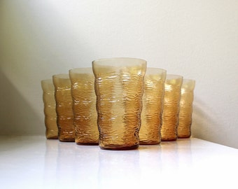 Vintage Modern Amber Glasses Fostoria Congo Set of 7 Scandinavian Style Tumblers 1950's