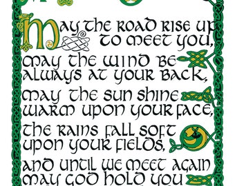 Irish Blessing 16 X 20 Print Hand Lettered In Tenth Century Celtic With