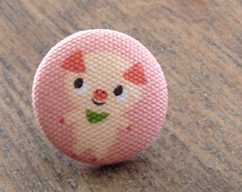 Three Little Pigs fabric covered button push pins