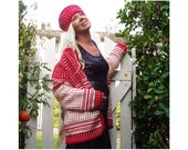 Fair Isle style Sweater-Cardigan - Adults- Crochet Pattern - Instant Download