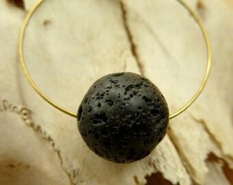 Minimalist , black lava bead and antique brass hope  necklace