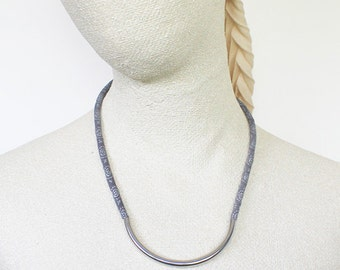 Modern textile necklace, modern jewelry, fabric necklace, grey and silver, cord necklace, fabric cord, mod jewelry, textile jewelry