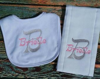 Personalized Burp Cloth and Bib set, personalized baby set, personalized baby item