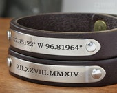 Personalized Couples Set - 2x Leather Bracelets - Friendship Bracelets or Mens Anniversary Gift - Handcrafted in USA