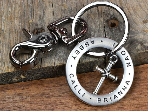 Keychain Personalized Engraved Stainless Steel Cross Key chain- Great Husband or Dad Gift -Personalize w/ANY TEXT up to 35 char-Made in USA!