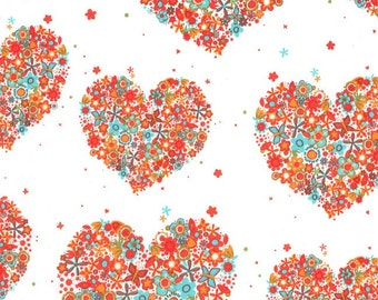 Michael Miller Fabric - Hearts & Flowers in Apricot - Flowers A Plenty - By The Yard
