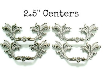 """Sets of 4 French Provincial Drawer Handles - Custom Dresser Pulls 2 1/2"""" centers 2.5"""" hole spacing"""
