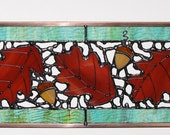 Stained Glass Suncatcher - Three Oak Leaves, Fall Leaf, Red Leaf and Acorn