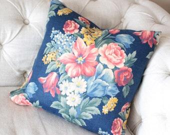 Vintage 1930s Mid Century Vintage Fabric Floral Cabbage Roses Decorative Antique Linen Throw Pillow