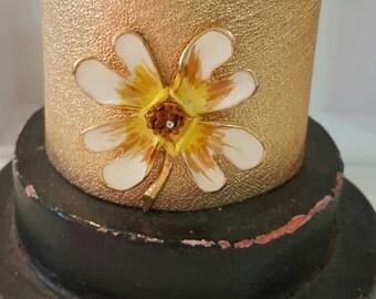 Gold Leather Cuff Bracelet with Vintage Flower Brooch