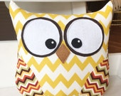 Owl Pillow Mustard Chevron