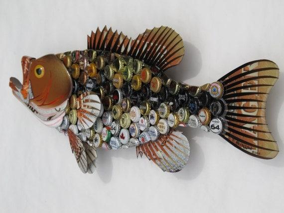 Bottlecap Fish Metal Wall Art Large Mouth Bass By Ericseasel
