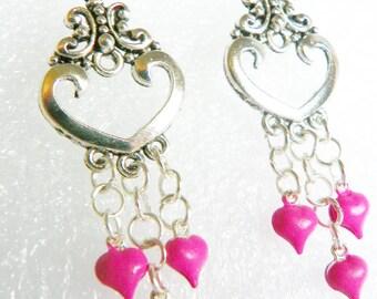 Hot Pink Heart earrings heart earrings pink earrings hot pink earrings hanging heart earrings silver earrings silver jewelry present gift