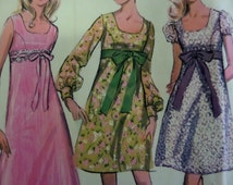 """1969 A-Line Princess Bodice Dress Pattern McCall's 9686 Junior Teen 7/8 Bust 29"""". Mod EMPIRE WAIST DRESS Pattern and More at WhiletheCatNaps"""